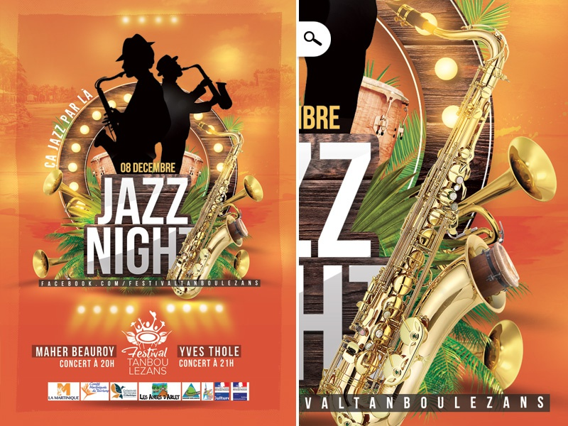 Flyer Jazz Night Festival Tanbou Lezans by n2n44 on Dribbble