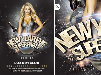 New Year Party Cm fireworks champagne party happy celebration countdown dj template flyer club new year nye