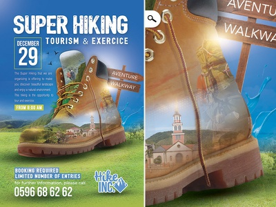 Hiking Trekking Flyer photomanipulation photomontage visit walk adevnture exercise tourism tour template flyer trekking hiking