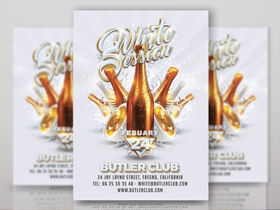White Session Party music dj night drink template flyer event eve club party session white