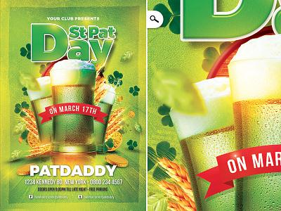 Saint Patrick Day Party drinks template flyer irish pub celebration club party day ireland st pat saint pat saint patrick