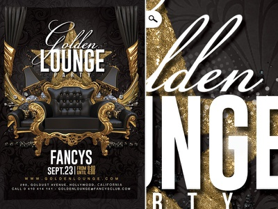 Golden Lounge Party night luxury mix club dj vip template flyer party barocco lounge golden