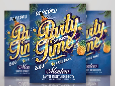 Party Time Club Flyer Template holidays night dj tropical exotic summer event club template flyer time party