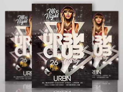 Urban Club Night Party eve drinks mix sound dj party event template flyer club night urban