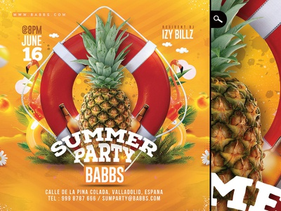 Summer Time Tropical Party summer sound beach pool seasonal dj music party tropical flyer exotic time summer