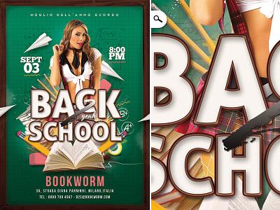 Back To School Party Flyer break studies brotherhood university mix dj music club party flyer back 2 school back too school