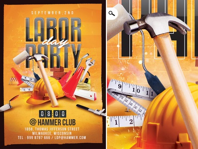 Labor Day Party Flyer work international usa party club workers rights celebration template flyer labor labor day