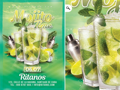 Mojito Time Party Flyer spring eve summer seasonal dj drink happy hour club flyer party time mojito