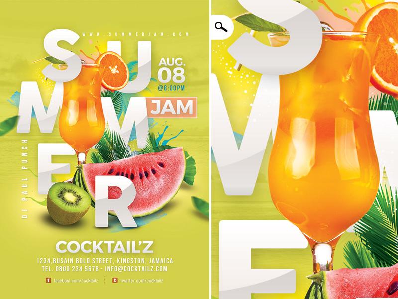 Fruity Summer Punch Flyer party club jam seasonal dj drink cocktail punch template flyer summer fruity