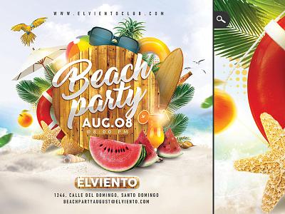 Beach Party Flyer drinks music cd cover summer sound dj seaside cocktail seasonal club flyer party beach