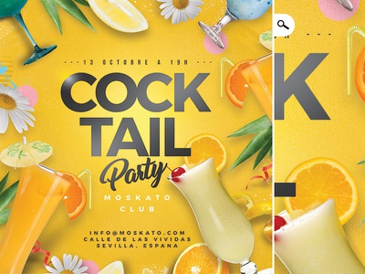 Cocktail Party Flyer bar event spring summer seasonal club happy hour drinks template flyer party cocktail