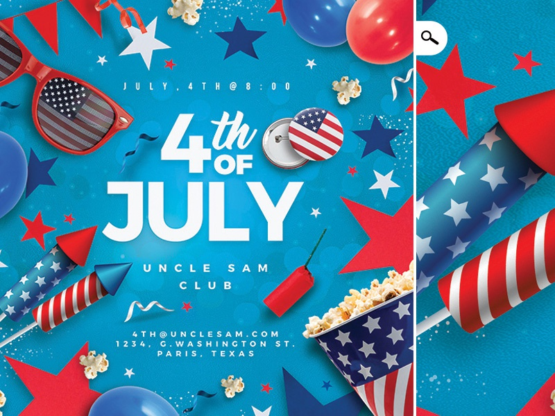 4th Of July Usa Flyer Party american fest event template flyer celebration party club national day independence day july 4th america usa 4th of july