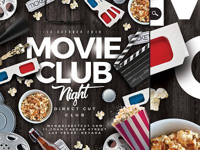 Movie Club Night Flyer festival film theater cinema night club party flyer entertainment screen showing movie