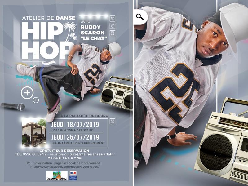 Atelier Hiphop Anses performer artist west indies music boombox flyer breakdance rap dance hip hop hiphop workshop