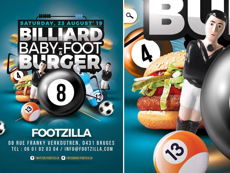 Billiard Babyfoot Burger Flyer bar games balls fast food burger flyer party eve event babyfoot pool billiard
