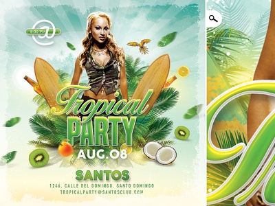 Tropical Party Flyer evening event dj beach cocktail summer seasonal template club flyer party tropical