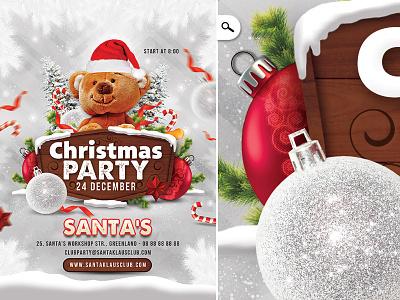 Christmas Party Club Flyer christmas tree santa holidays seasonal boxing day family club celebration template flyer christmas xmas