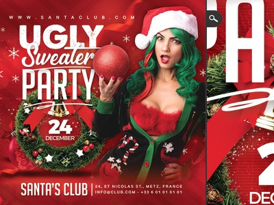 Ugly Sweater Party Flyer dribbble celebration jingle bell flyer new year winter christmas xmas club party sweater shirt ugly