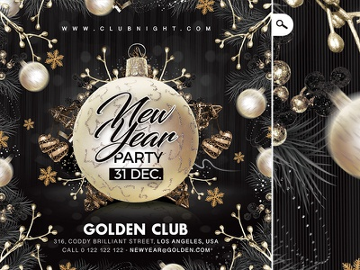 New Year Party Flyer flyer party club xmas christmas holidays winter countdown celebration new year nye