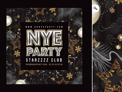New Year Eve Flyer Template winter holidays evening event club party countdown celebration template flyer new year nye