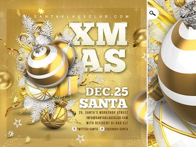 Christmas Night Party Flyer christmas tree ball santa claus holidays winter xmas celebration flyer club party card christmas