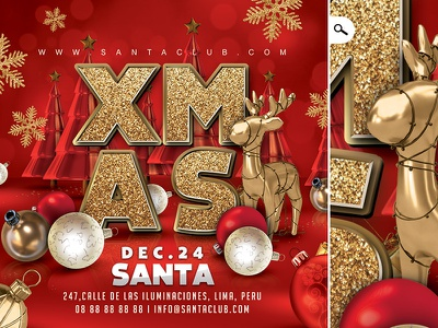 Xmas Jingle Bell Party Flyer night holidays winter santa claus event eve club flyer party jingle bell christmas xmas