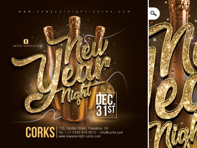 New Year Party Flyer club party winter holidays evening event eve special countdown celebration new year nye