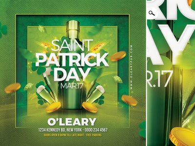 Saint Patrick Day Party Flyer flyer celebration beer ireland irish pub bar club clover st pat day saint patrick saint patricks day
