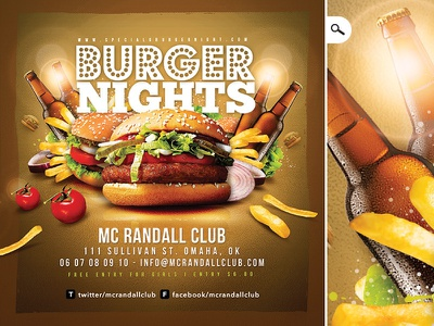 Burger Nights Club Party Flyer restaurant pub bar drink ad night shop club party flyer fast food burger