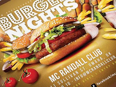 Burger Nights Club Party Flyer restaurant pub bar drink ad night shop club party flyer fast food burger