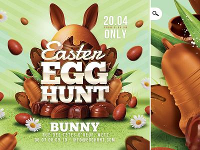 Easter Egg Hunt Flyer easter bunny club party flyer chocolate rabbit children catholic celebration hunt egg easter