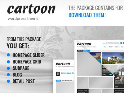 Free Cartoon PSD's files wordpress theme template freebie psd download free