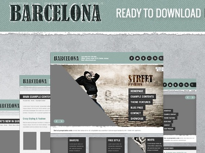 Free Barcelona PSD's files wordpress theme template freebie psd download free