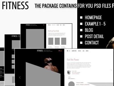 Free Fitness PSD's files wordpress theme template freebie psd download free