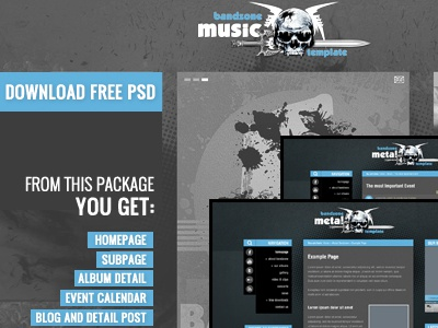 Free Bandzone PSD's files free download psd freebie template theme wordpress