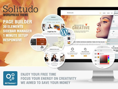 Solitudo: WP theme with Page Builder & 30 Customizable Elements page builder customizable elements drag and drop universal sidebar manager responsive no coding blog wordpress theme