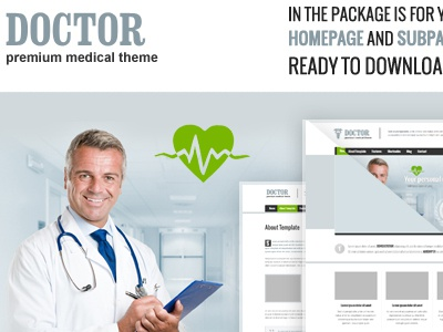 Free Doctor PSD's files wordpress homepage subpage blog wordpressreator theme template freebie psd download free