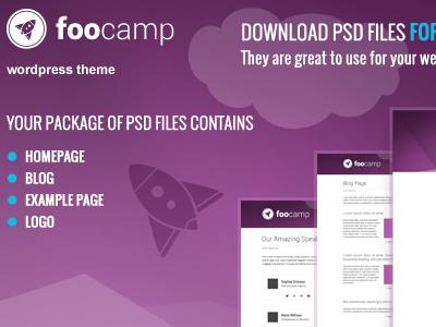 Free Foocamp PSD's files free download psd freebie template theme wordpressreator blog subpage homepage wordpress
