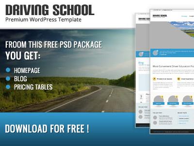 Free Drivingschool PSD's files wordpress homepage subpage blog wordpressreator theme template freebie psd download free