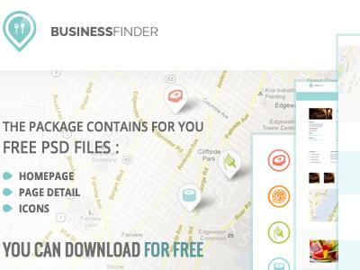 Free Businessfinder PSD's files wordpress homepage subpage blog wordpressreator theme template freebie psd download free