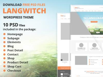 Free Langwitch PSD's files wordpress homepage subpage blog wordpressreator theme template freebie psd download free