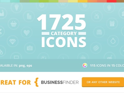 Category Icons for Business Finder icons category business finder directory graphics design vector colors website