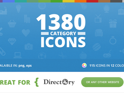 Category Icons for Directory icons category business finder directory graphics design vector colors website