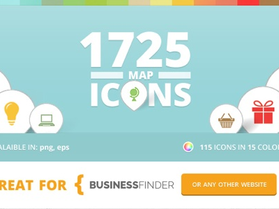 Map Icons for Business Finder icons business finder directory graphics design vector colors website maps