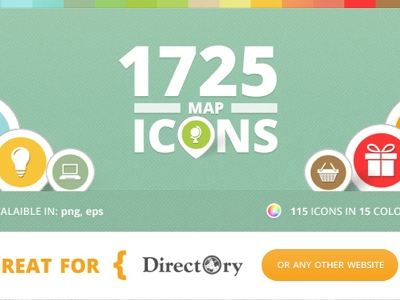 Light Map Icons for Directory icons business finder directory graphics design vector colors website map