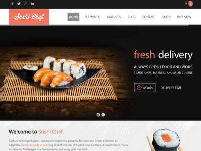 SUSHI Food delivery WordPress Theme theme wordpress translated multipurpose woocommerce multilingual blog presentation responsive drag and drop customizable elements page builder