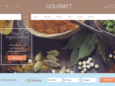 Gourmet Wordpress Theme for Restaurants & Bars wordpress theme page builder business restaurant bar design responsive template