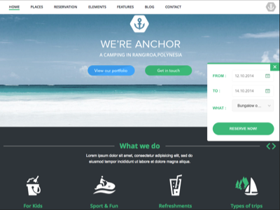 ANCHOR - Wordpress theme for Campsites wordpress theme page builder business campsites design responsive template