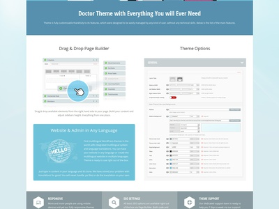 Doctor+ medical responsive WordPress theme medical doctor ambulance business dentist general practice health health care hospital languages office hours spa
