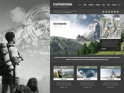 Expedition WordPress Theme theme multilingual responsive wordpress travelleres maps route guide tour expedition